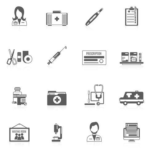 Conjunto de ícones de médico vetor