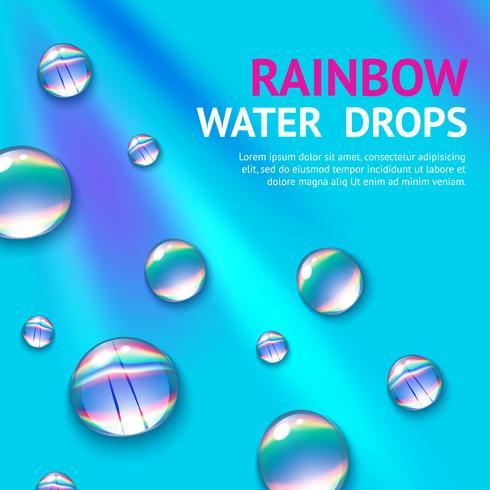 Gotas de água com arco-íris vetor
