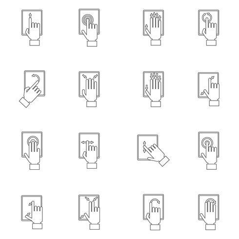 Mão, tocar, tela esboço, ícone vetor