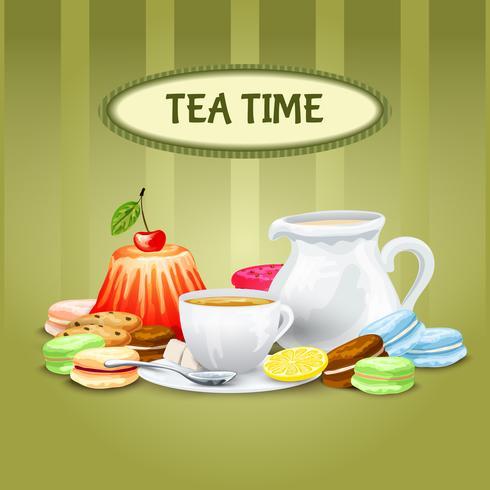 Cartaz do tempo do chá vetor