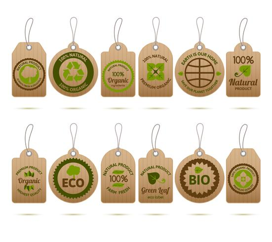 Tags de cartão de ecologia vetor