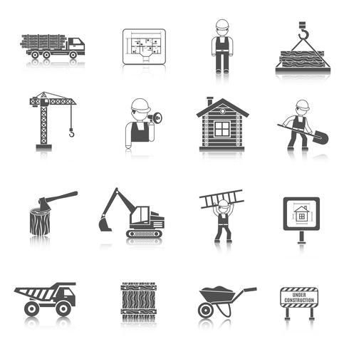 Ícones de construção preto vetor