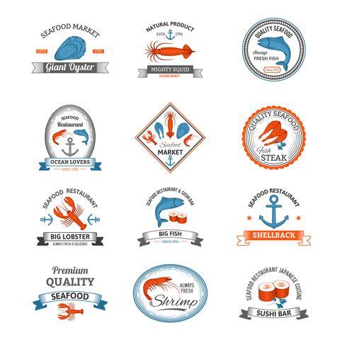 Emblemas de frutos do mar coloridos vetor