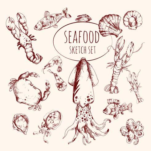 Conjunto de Esboço de Frutos do Mar vetor
