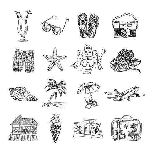 Férias de verão doodle esboço isons set vetor