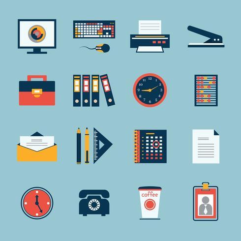 Conjunto de ícones de artigos de papelaria do escritório de negócios vetor