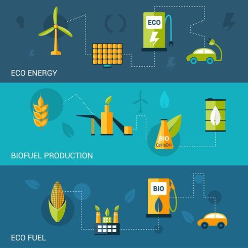 Banners planos de biocombustível vetor