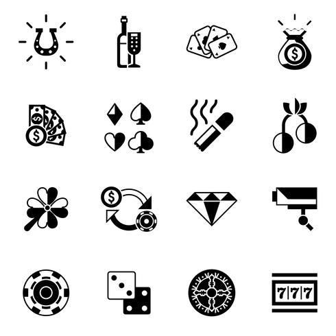 Cassino Icons Preto vetor