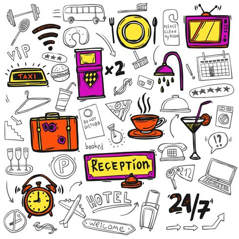 Ícones de serviço de hotel doodle esboço vetor
