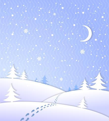 Fundo de inverno com neve caindo vetor