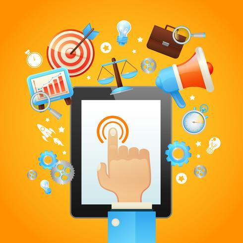 Mão com dispositivo de Tablet vetor
