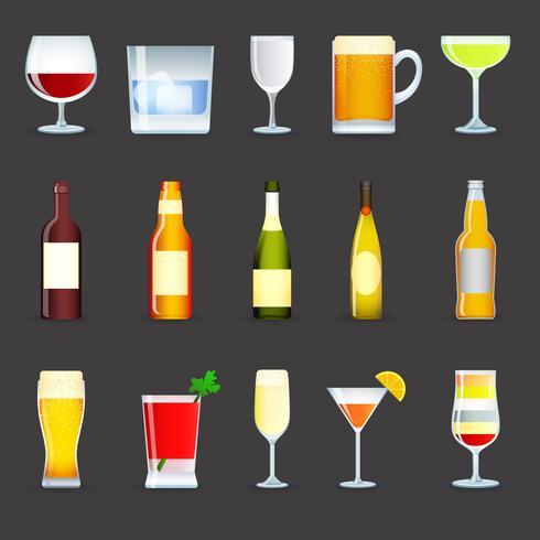 Conjunto de ícones de bebidas de álcool vetor