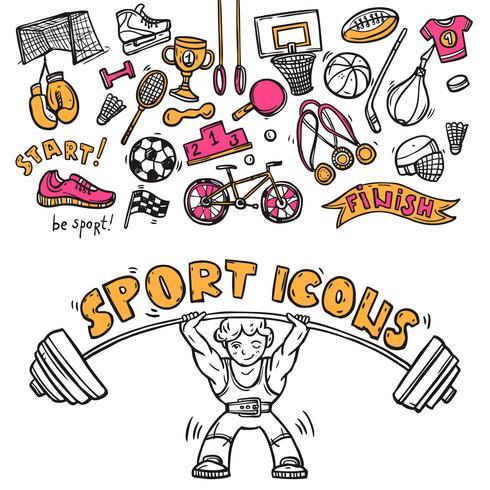 Esboço de doodle de ícones do esporte vetor