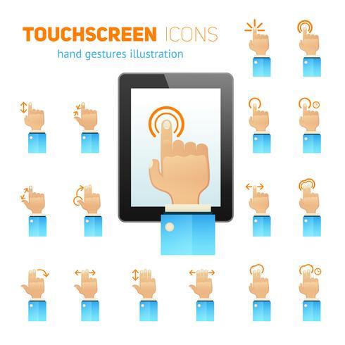 Ícones de gestos de tela de toque vetor