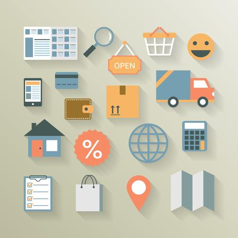 Elementos de interface para comércio eletrônico na internet vetor