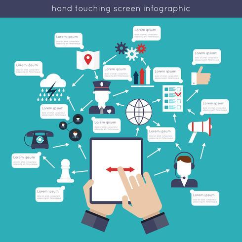 Mão, toque, tela infográficos vetor