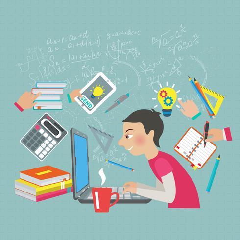 Conceito de estudante de matemática vetor