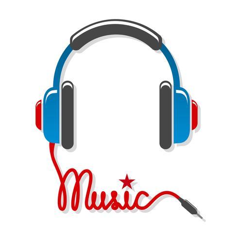 Fones de ouvido com cordão e música de palavra vetor