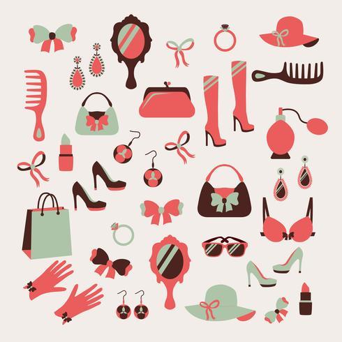 Conjunto de ícones de acessórios de mulher vetor