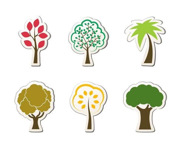 Símbolos de árvore para web design verde vetor