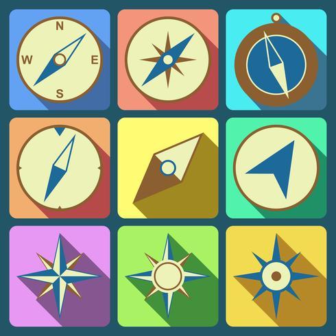 Conjunto de ícones plana de bússola de navegação vetor
