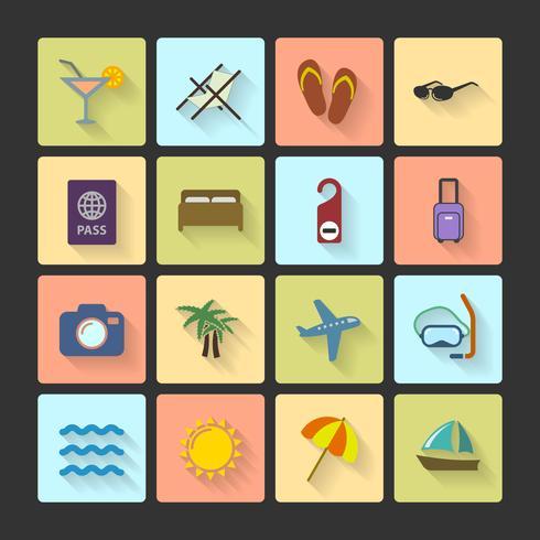 Ícones de layout de interface do usuário de férias, sombras quadradas vetor