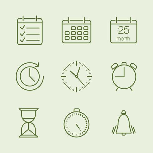 Contorno de tempo e ícones de calendário vetor