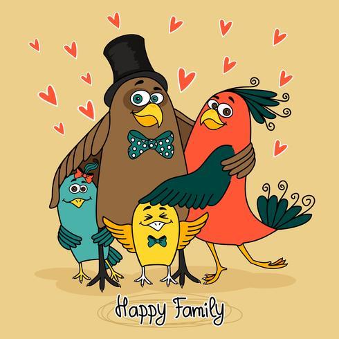 pássaros família feliz vetor