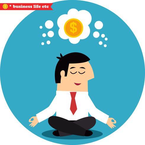 Gerente meditando sobre dinheiro e sucesso vetor