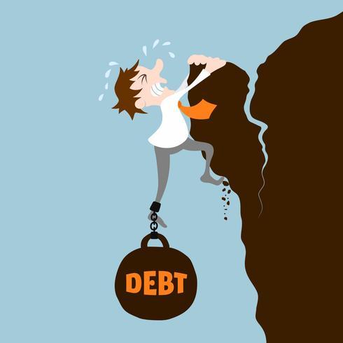 Homem negócio, com, dívida vetor