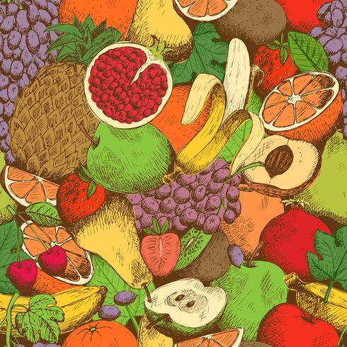 Padrão sem emenda de frutas frescas suculentas brilhantes vetor