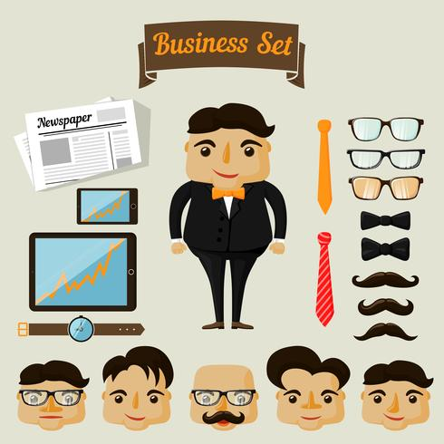 Elementos de caráter hipster para homem de negócios vetor