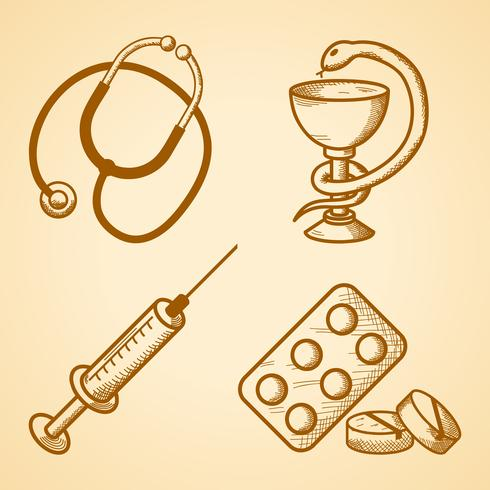 Conjunto de ícones de itens médicos vetor
