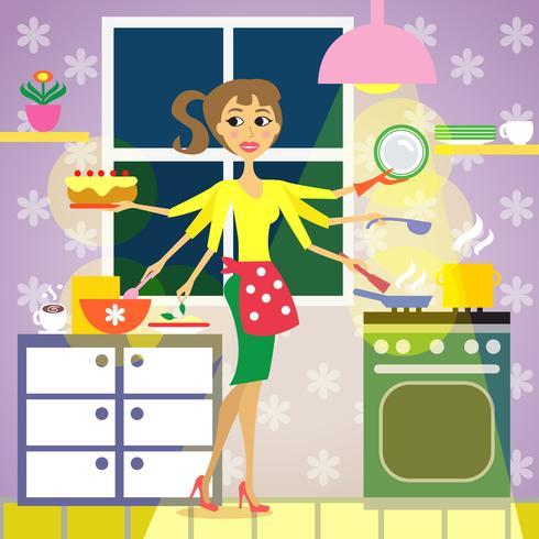 cozinha mulher cozinha vetor