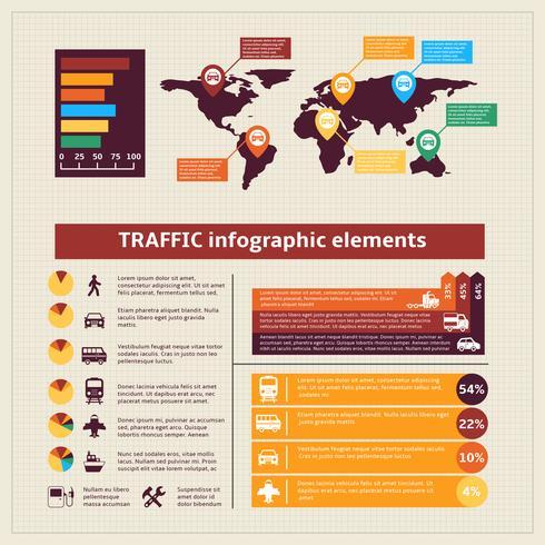 Elementos de infográficos de tráfego de transporte vetor