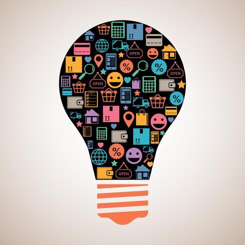 Compras on-line lâmpada criativa vetor