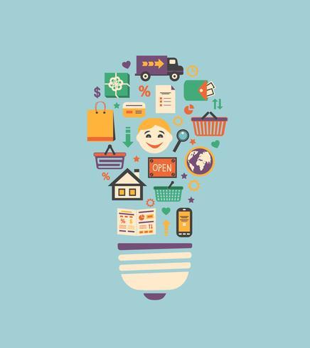 Idéia de inovação de compras on-line vetor