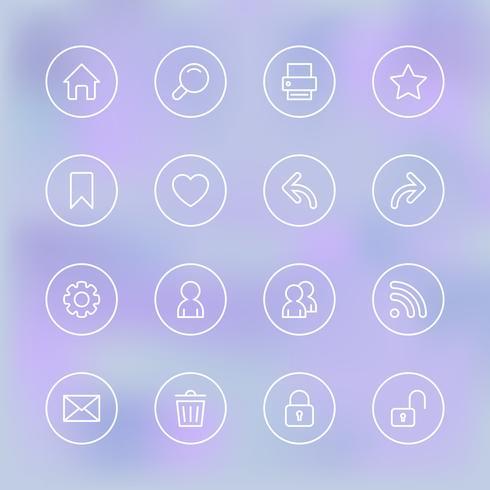 Conjunto de ícones para interface do aplicativo móvel, transparente e claro vetor