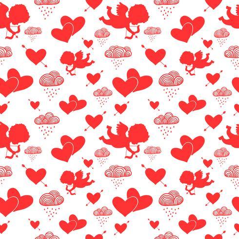 Amor Cupidos corações flechas e nuvens sem costura padrão vetor