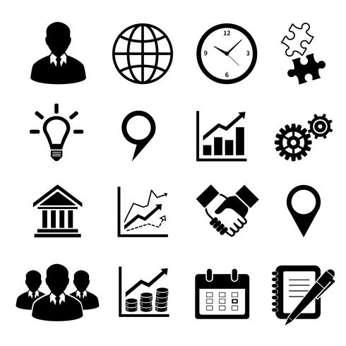 Conjunto de ícones de negócios para infográficos vetor
