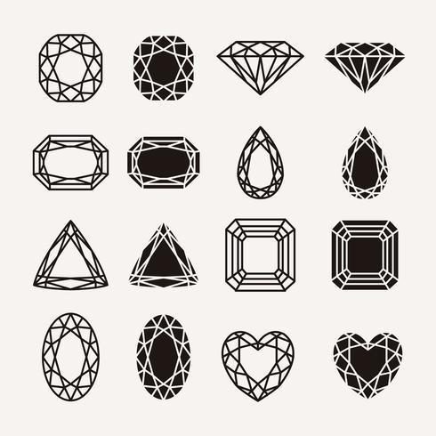 ícones de diamante vetor