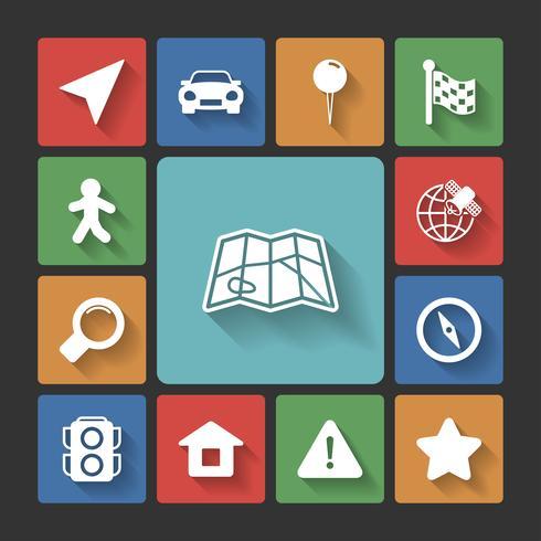 Conjunto de ícones de navegação, sombras quadradas vetor