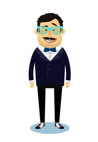 Personagem de homem de negócios de geek hipster vetor
