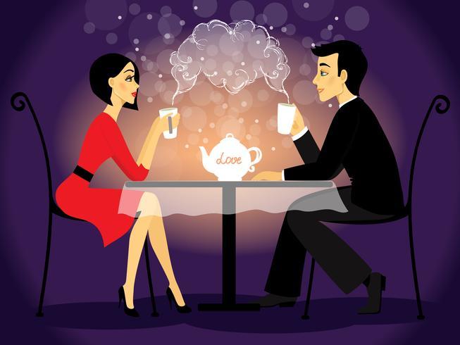 Namoro cena casal, amor confissão vetor