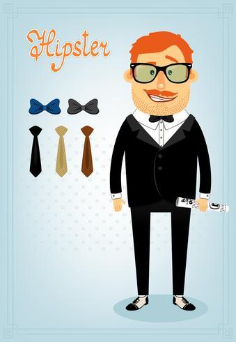 Pack de caráter hipster para homem de negócios vetor