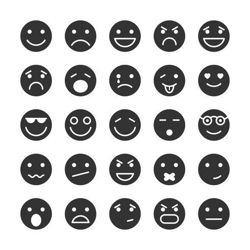 Smiley faces icons set de emoções vetor