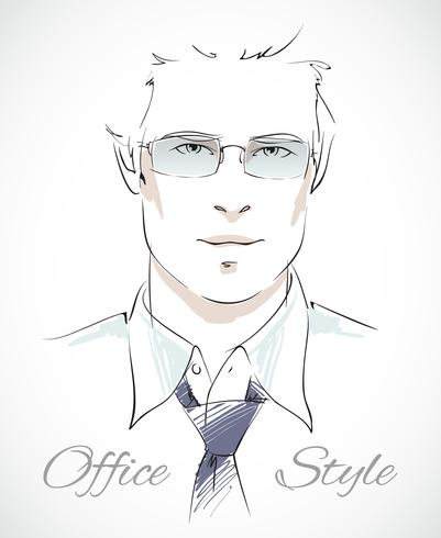 Retrato de homem de negócios elegante vetor