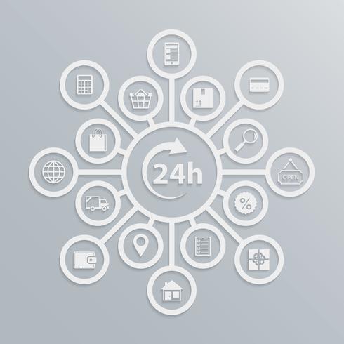Loja online 24 horas diagrama de atendimento ao cliente vetor