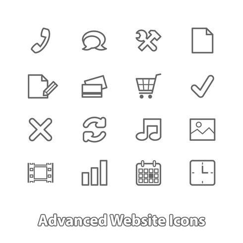 Conjunto de ícones do site para compras on-line, contorno liso vetor