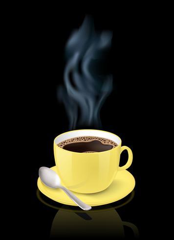 Taça amarela cheia de café expresso vetor